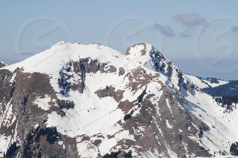 Mountain snow ski people lift pist sky cloud avoriaz photo
