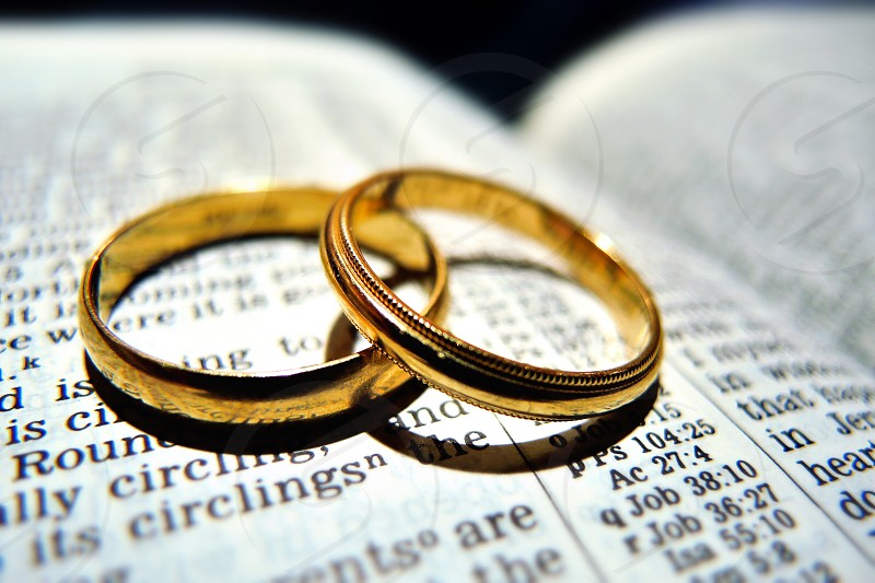 2 gold rings on white book page photo