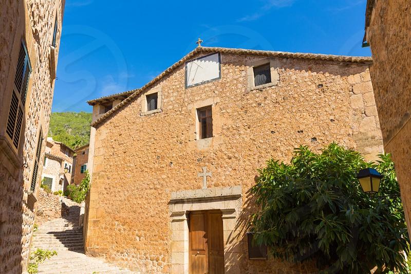 Fornalutx village church in Majorca Balearic island Mallorca spain photo