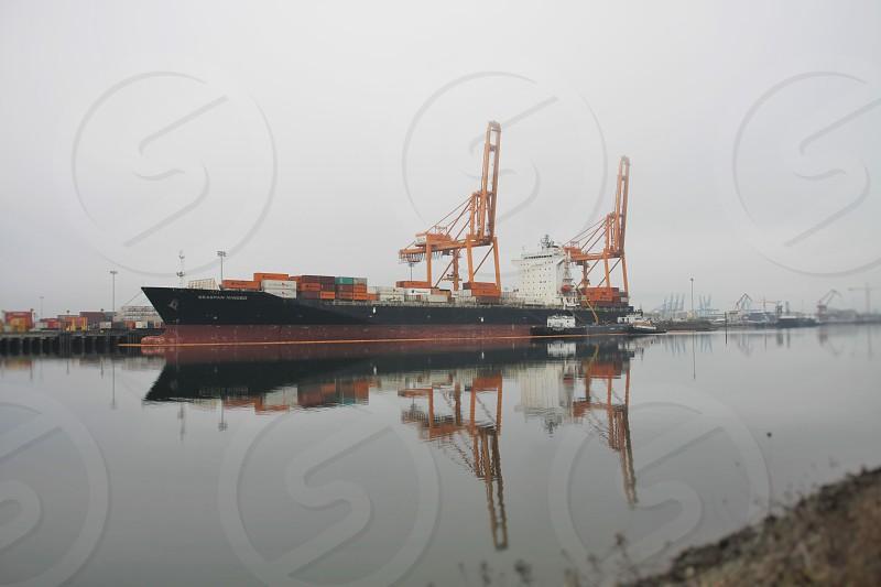 Reflections at the port of Tacoma. photo