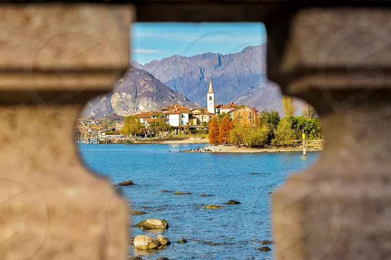 Italy lake water blue autumn island landscape travel photo