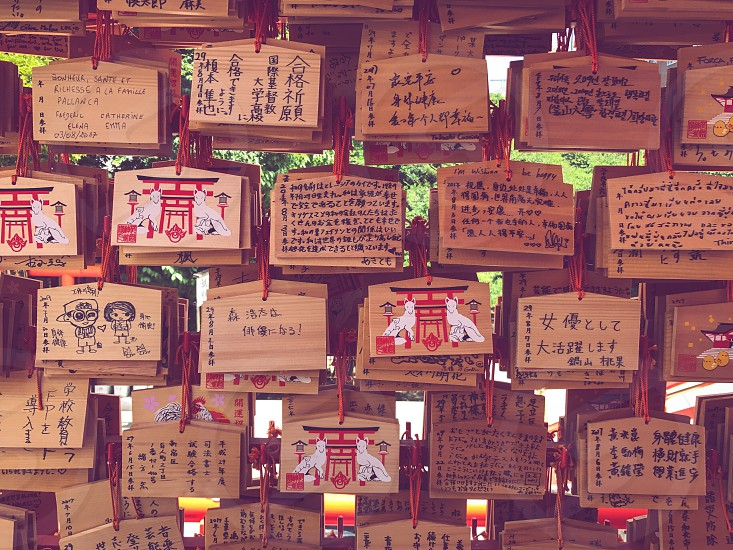 Outdoor day colour landscape horizontal Tokyo Japan Japanese East Eastern Orient Far East urban city modern travel tourism tourist wanderlust summer traditional Shinto Temple traditional culture Prayers prayer notes messages worship photo