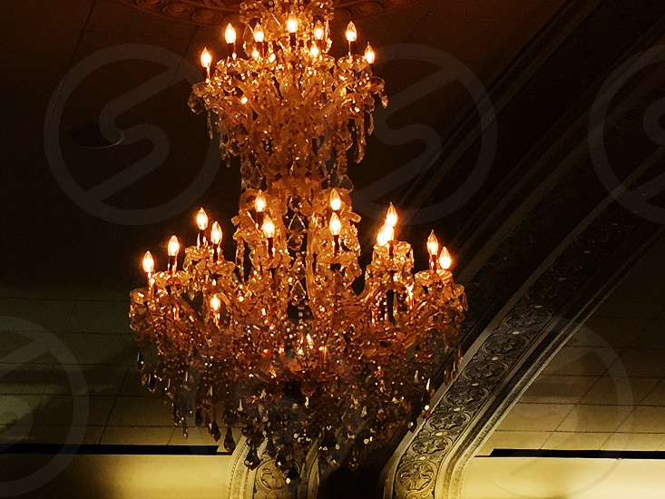 glass chandelier at ceiling photo
