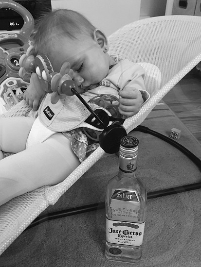 Baby baby girl beautiful drunk baby tequila photo
