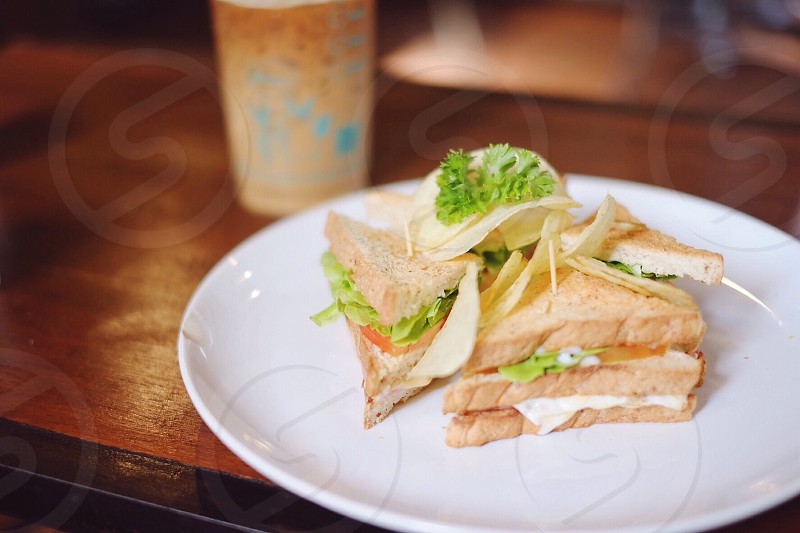 lettuce tomato and mayonnaise sandwich on plate photo