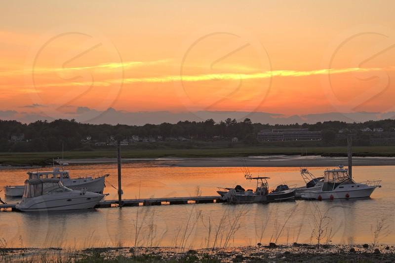 sunsetoceanharborwellsmainemainebeachboats photo