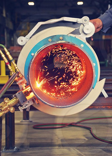 industrial equipment giving off sparks photo
