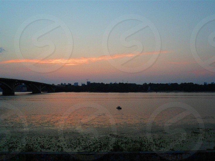Sunset on the Dnieper River in the city of Kiev photo
