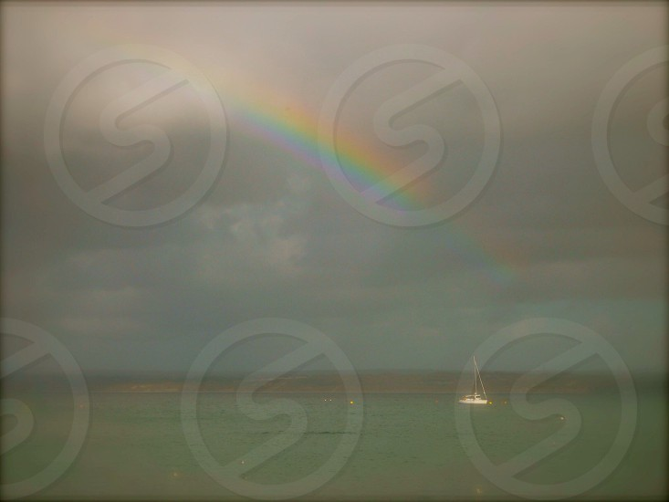 #rainbow #seascape #boat photo