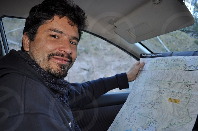 Using a map Yellowstone roadtrip photo