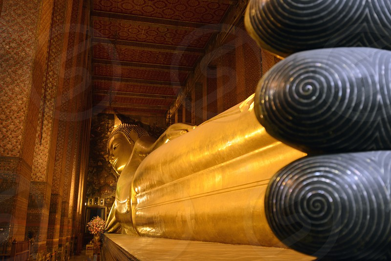 the reclining buddha in the temple of Wat Pho in the city of Bangkok in Thailand in Southeastasia. photo