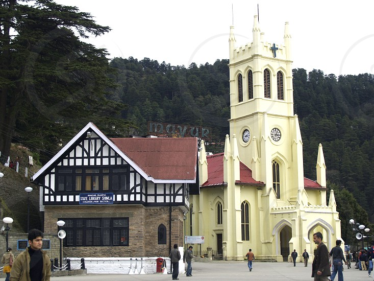 shimla mall road north landmark indian people travel tourism india pradesh place hill destination asia day himachal tower church station northern mall history old road ridge hill station tour park capital city facade exterior clock ancient building traditional temple statue tree view attraction architecture famous shop shopping store tourist cbd business busy crowd people photo