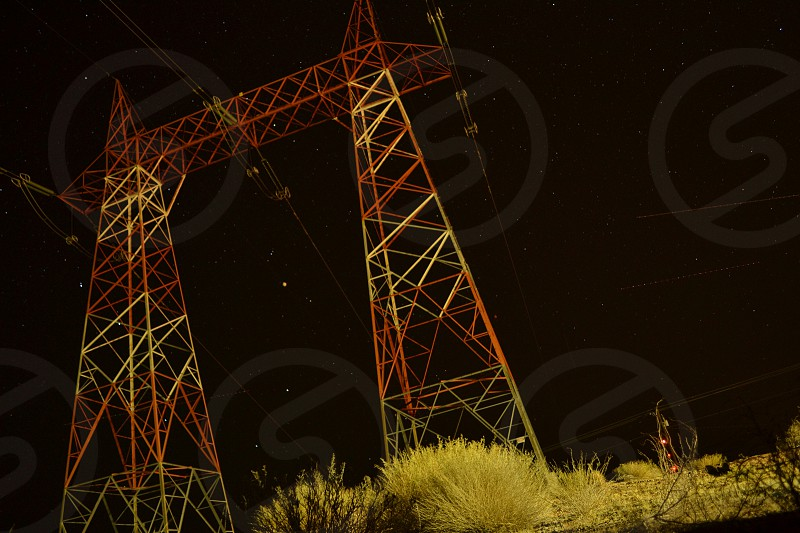 Lake Powell by Night Electricity Wires Sky Stars photo
