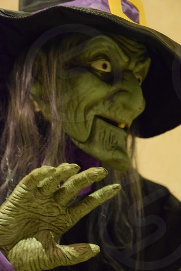 close up photo of person wearing green witch costume with black and purple hat photo