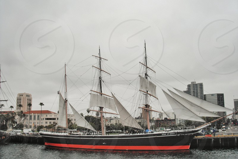Old sailing ship Star of India - harbour of San Diego photo