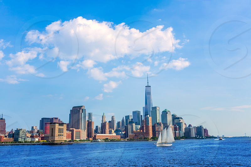 Manhattan skyline New York sunshine US blue sky photo