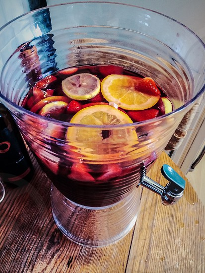 Red wine sangria fruits fresh  photo
