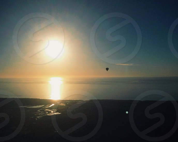 hot air balloon  with sunset  photo