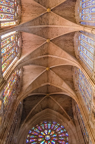 Ceiling Cathedral of Leon in Spain photo