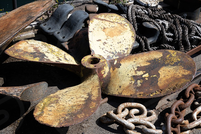 BRISTOL UK - MAY 14 : Miscellaneous items of maritime equipment by the SS Great Britain in dry dock in Bristol on May 14 2019 photo