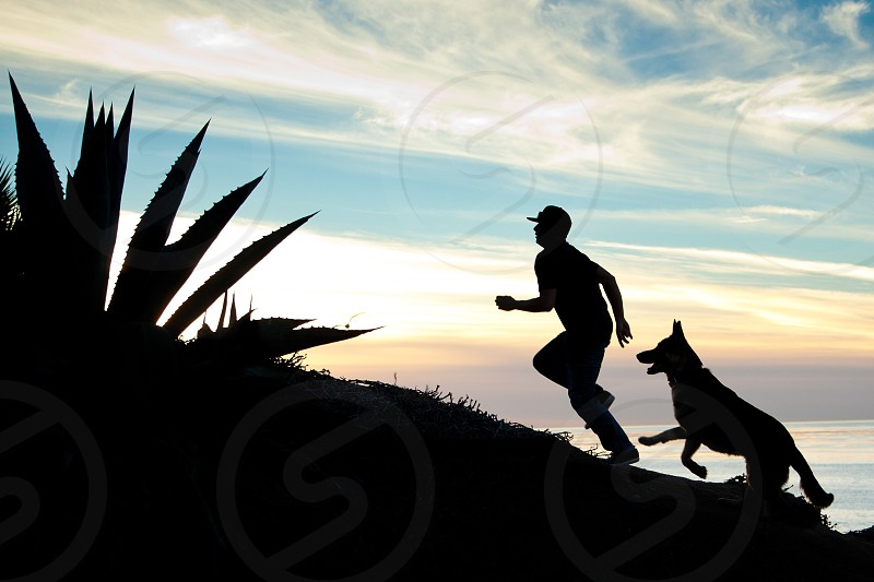 man and dog silhouette photo