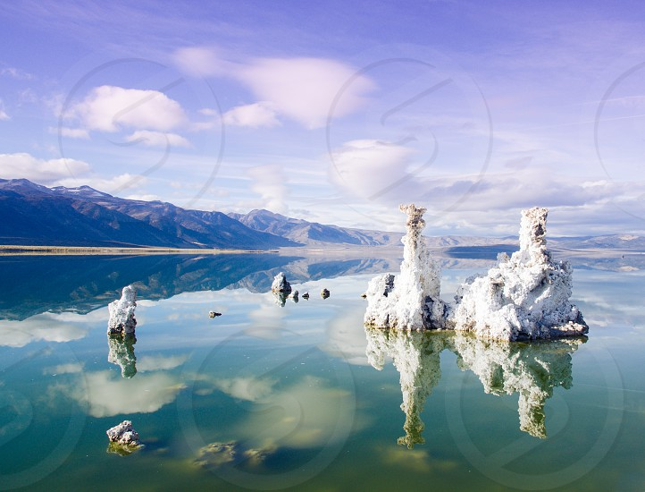 mono lake lake reflection tufa mountains landscape mars ethereal  photo