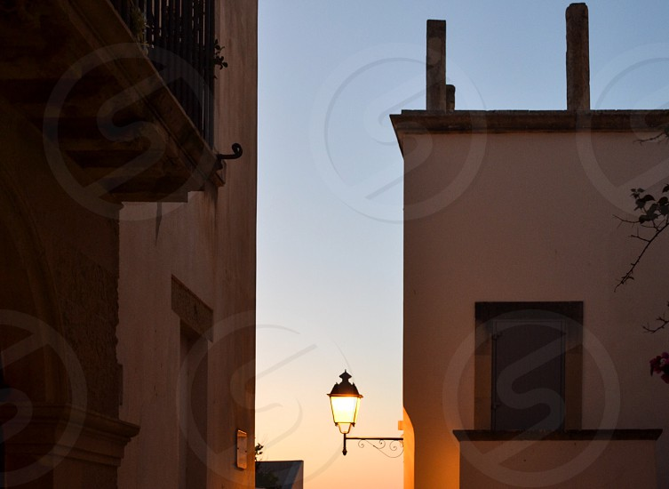 Houses light sunset south Italy photo