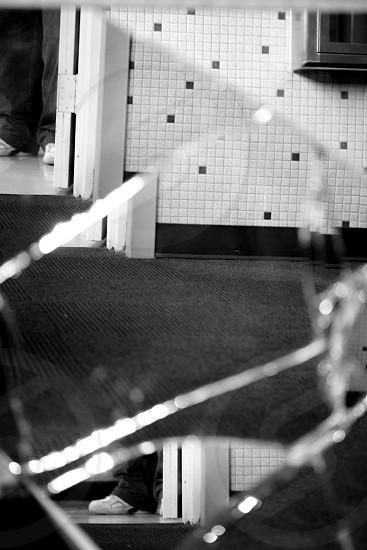 Cracked Mirror Reflection B&W photo