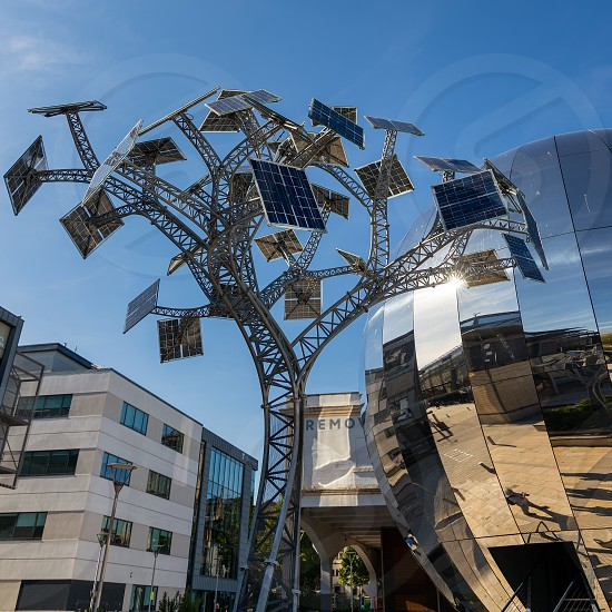 BRISTOL UK - MAY 14 : Energy tree sculpture in Millennium Square Bristol on May 14 2019 photo