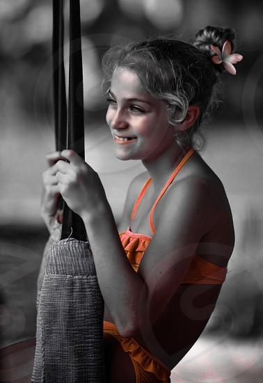 Leah on the swings in Ubud Indonesia photo