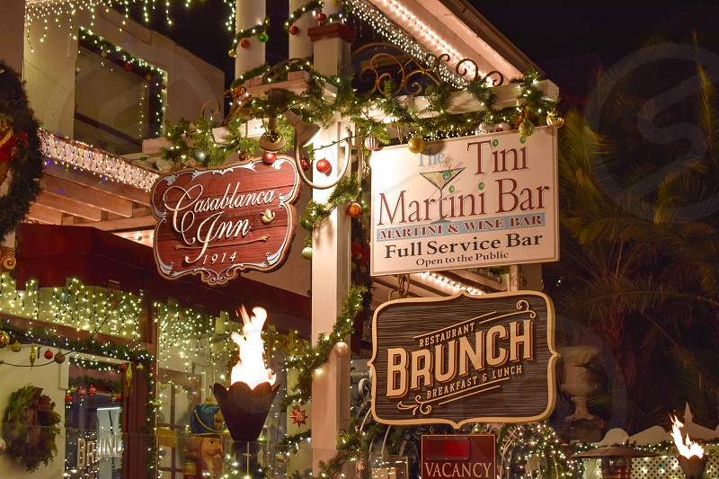 St. Augustine Florida. January 26  2019 . Old Hotel and Martini Bar Signs at night in Florida's Historic Coast. photo