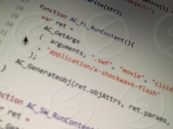 Specific source code on cimputer retina screen photo