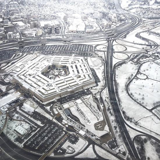 aerial view us pentagon building snowy roads photo