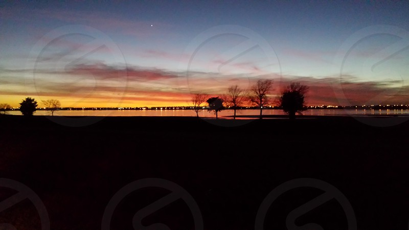 Sunset at Lake Overhoulser Oklahoma photo