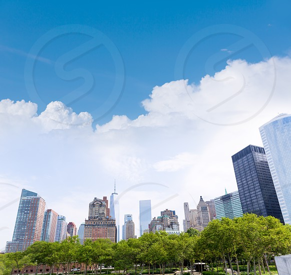 Lower Manhattan New York skyline Battery Park NYC in USA US photo