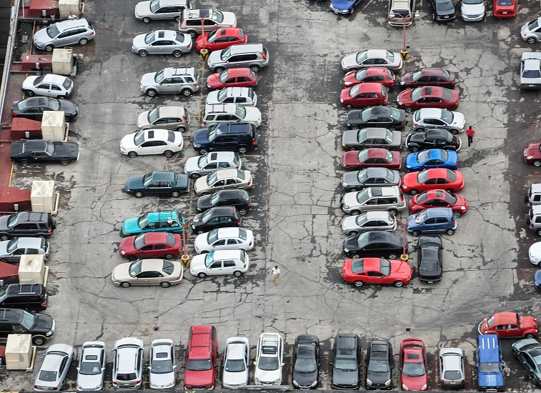 view of cars on a parking area photo