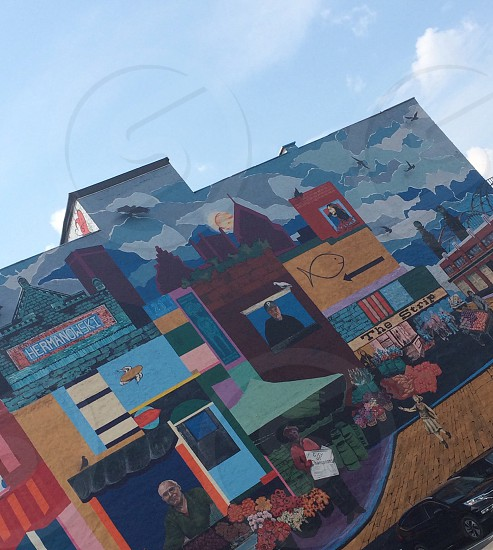Mural art bright Pittsburgh colorful city photo