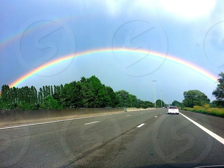 street with rainbow photo