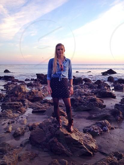 women's blue button up shirt photo