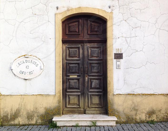 brown wooden door with brown handle photo