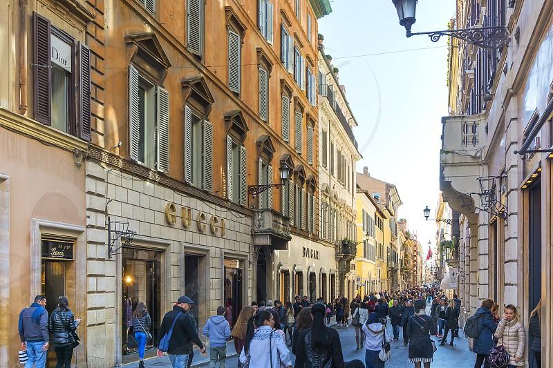 luxury and fashionable shopping in via dei condotti in Rome photo