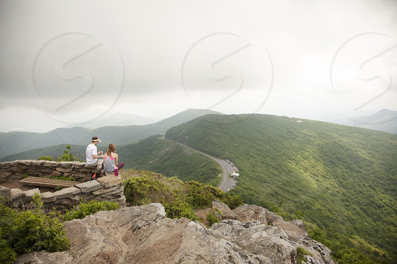 A view of the Blue Ridge Parkway from atop Craggy Gardens in North Carolina photo