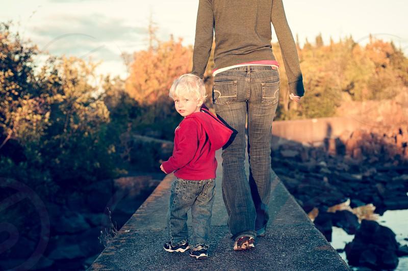 Boy Mom Walking Sunset Evening Summer Pier Shore Dusk Golden Hour Sweatshirt Blonde Child photo