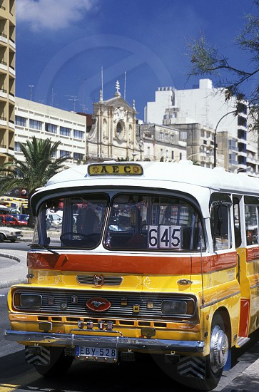 The Bus Terminal in the City of Valletta on Malta in Europe. photo