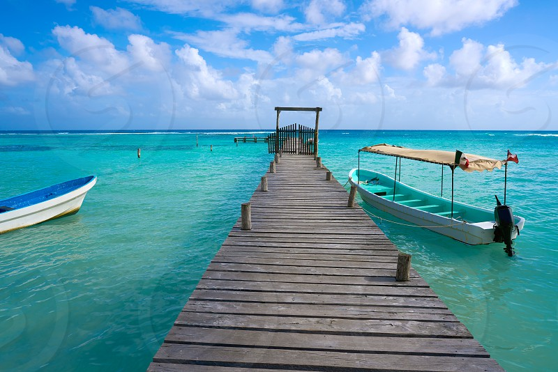 Mahahual Caribbean beach pier in Costa Maya of Mayan Mexico photo