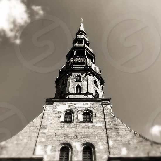 Outdoor day square filter black and white monochrome Riga Latvia Europe European architecture building St. Peter's Church Holy religious religion christian Christianity travel tourist tourism wanderlust Summer capital city steeple photo