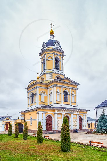 Church of the Three Great Saints in the bell tower. Vysotsky Monastery. Serpukhov. Russia photo