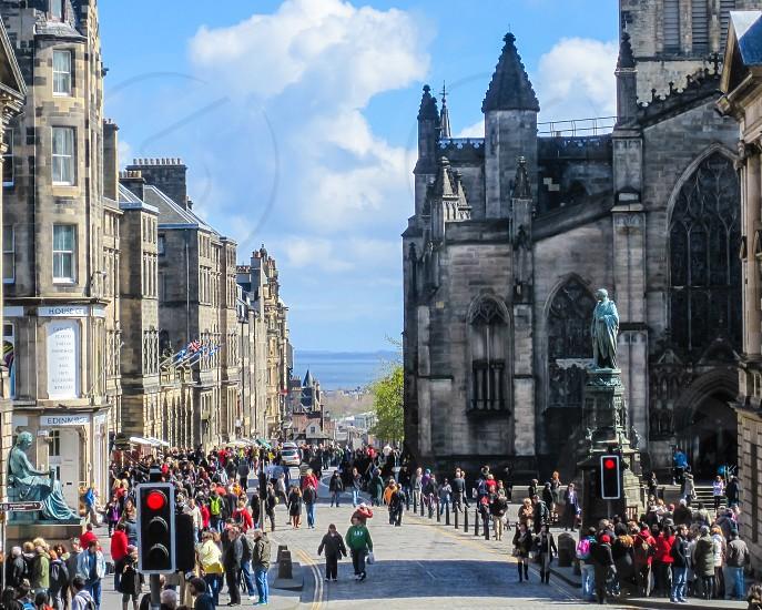 Crowds on a European city street (Edinburgh) photo