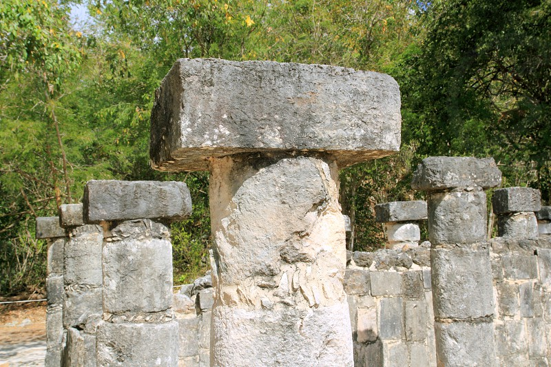 Columns Mayan Chichen Itza Mexico ruins in rows Yucatan photo