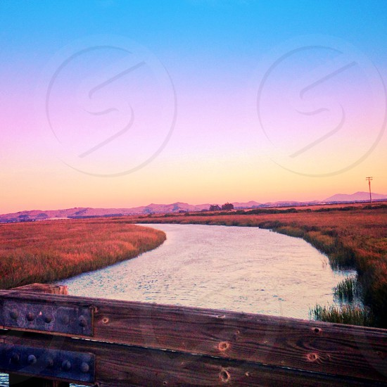 Napa River at sunset photo